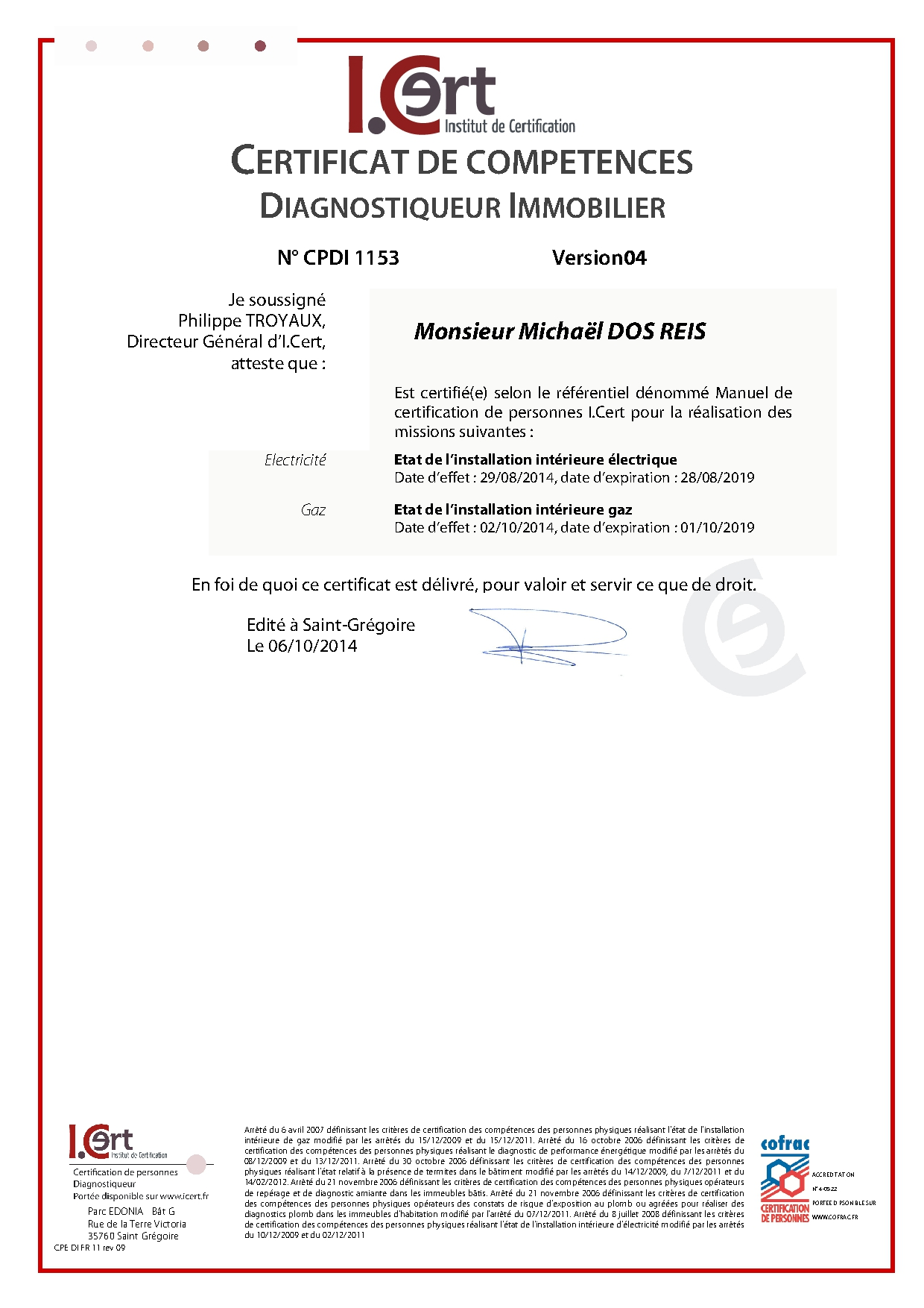 Certificat de compétences diagnostiqueur immobilier