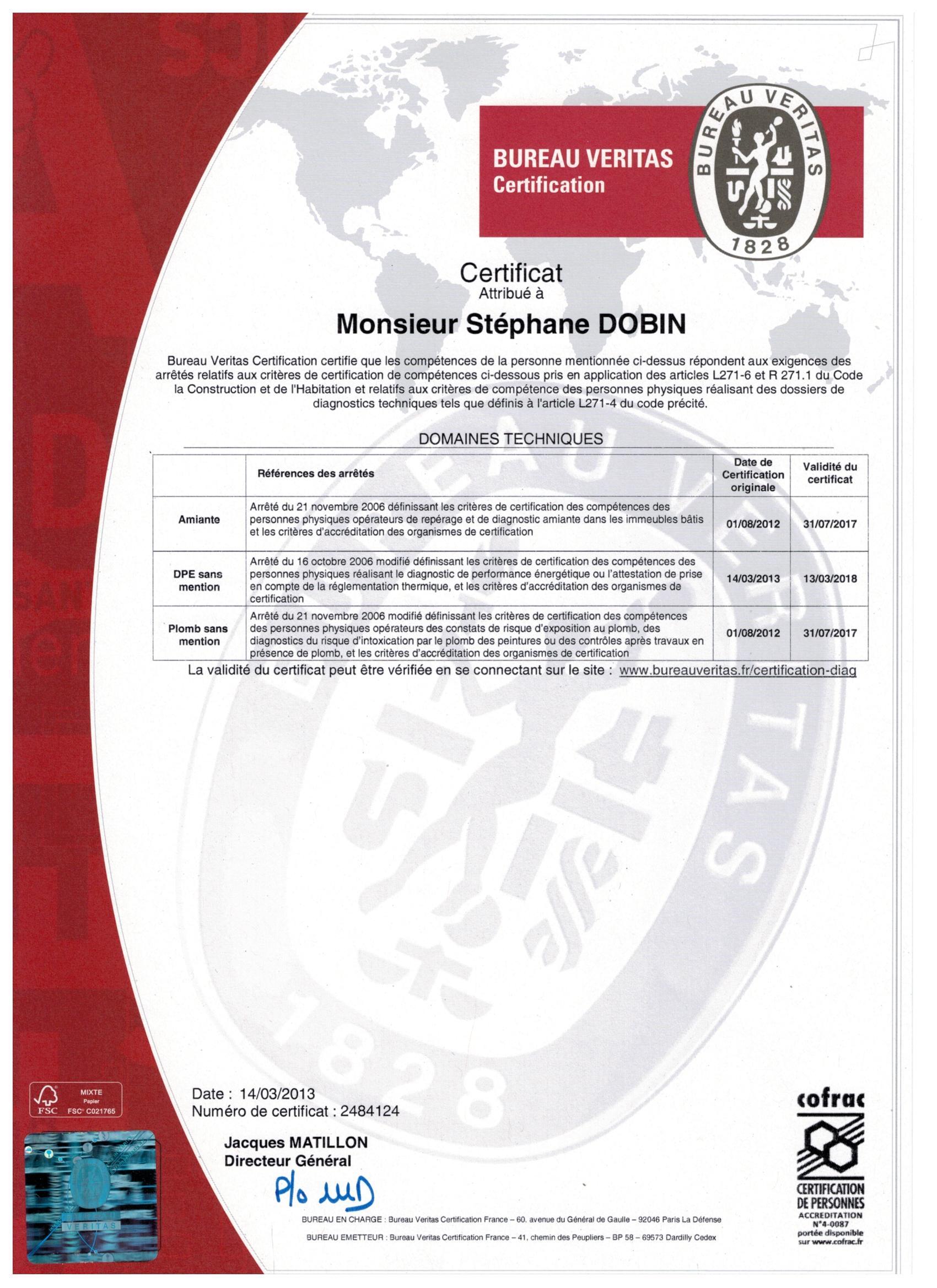 Certification du bureau VERITAS