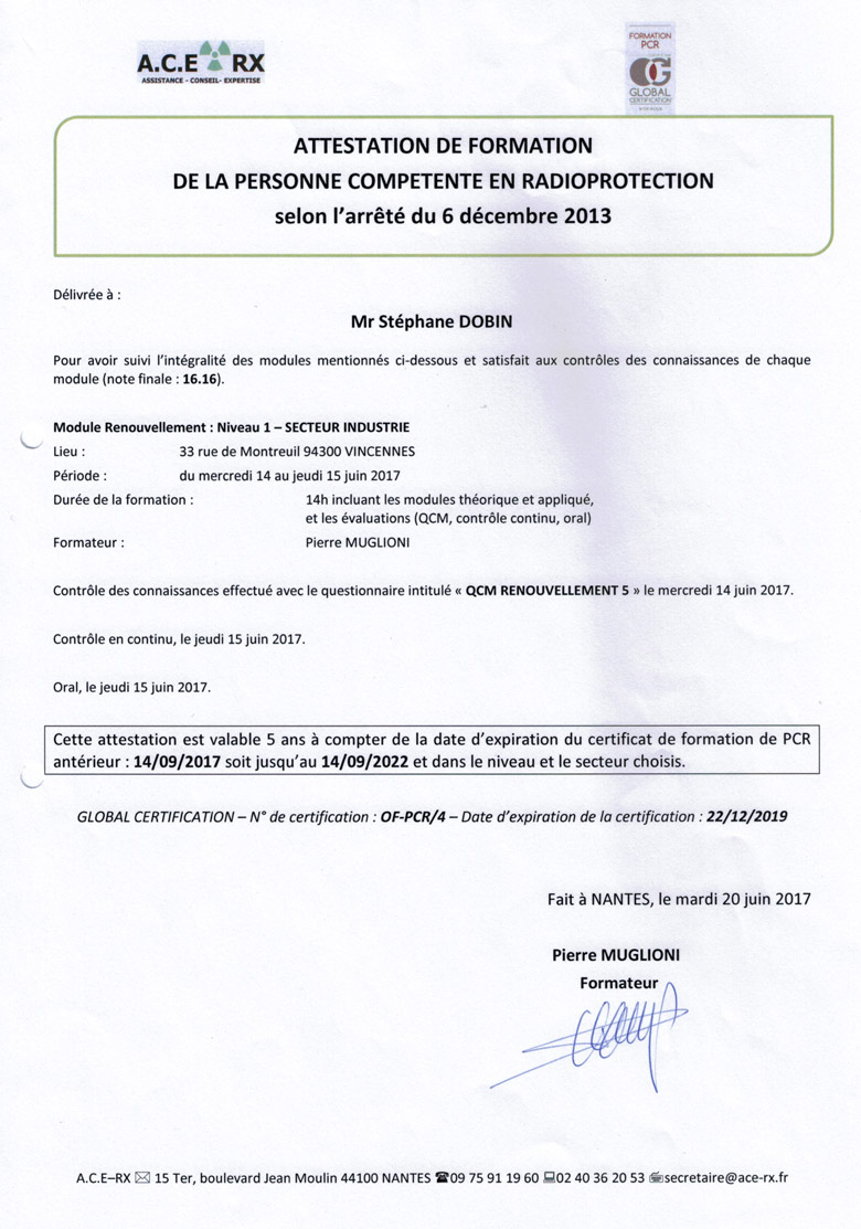 Certificat en radioprotection