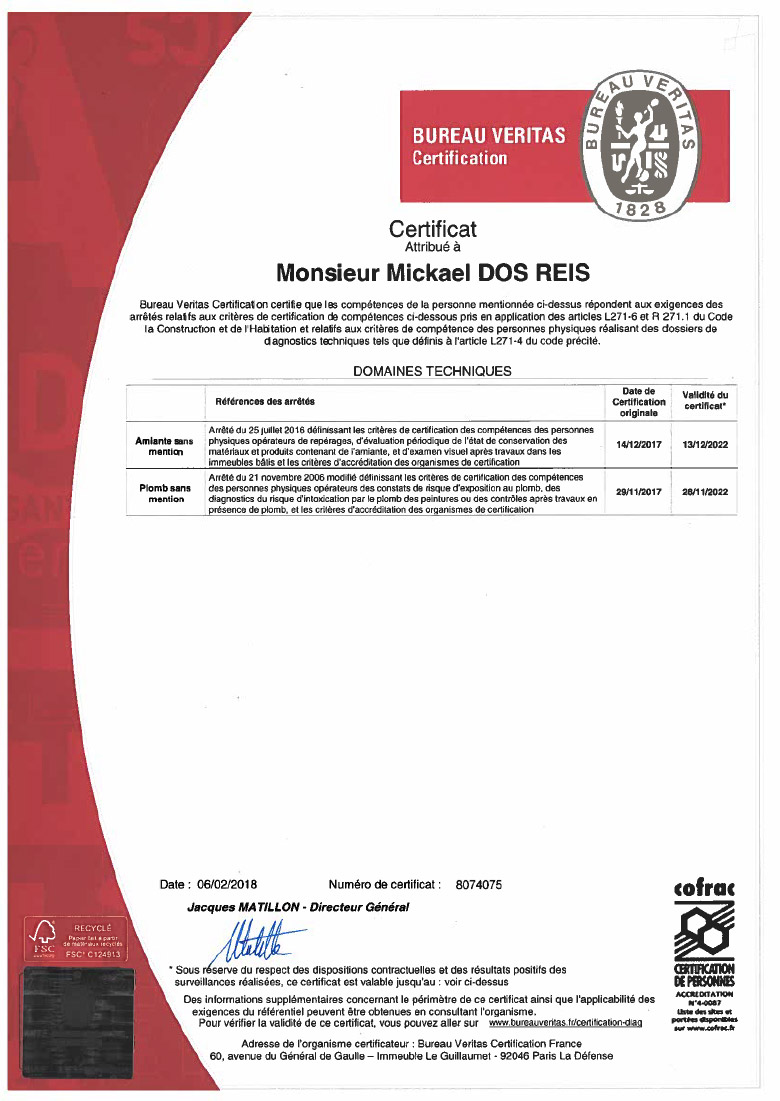 Certification du bureau VERITAS