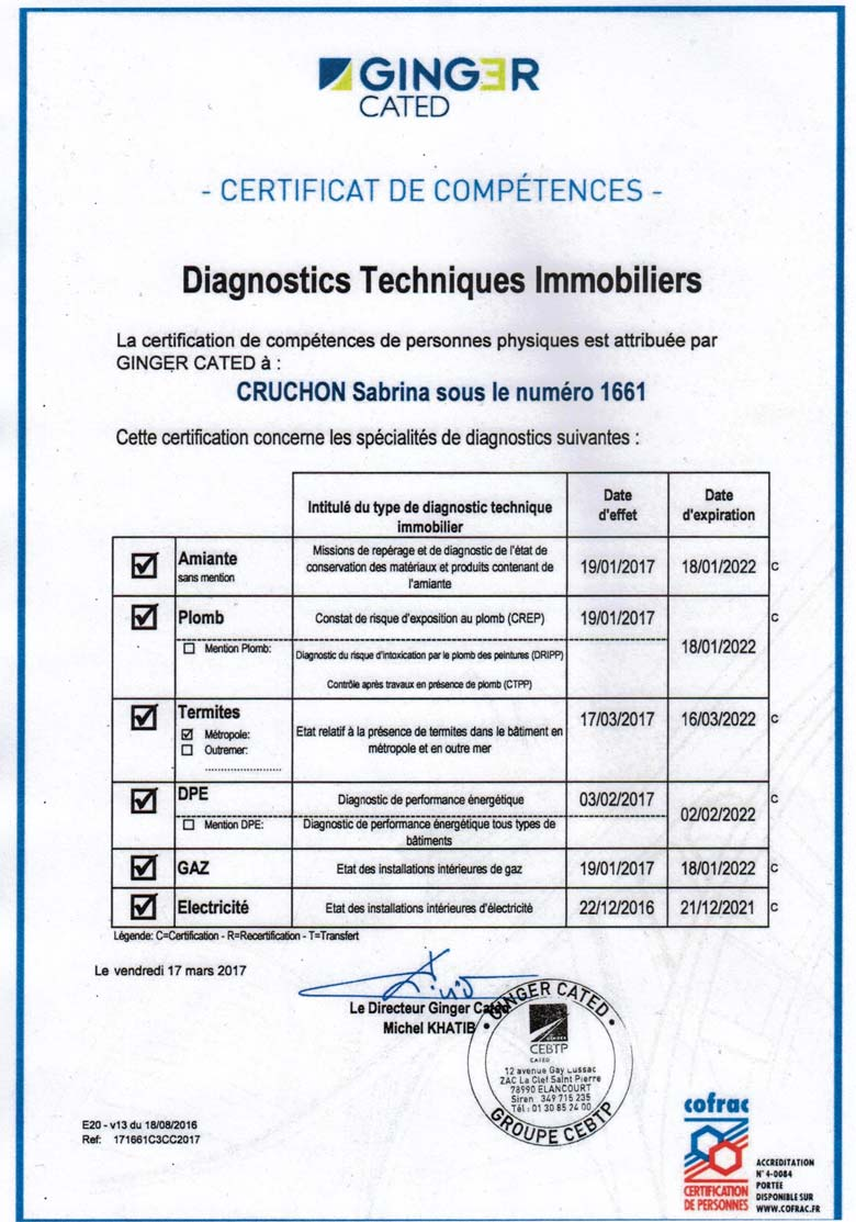 certifications diagnostics techniques immobiliers