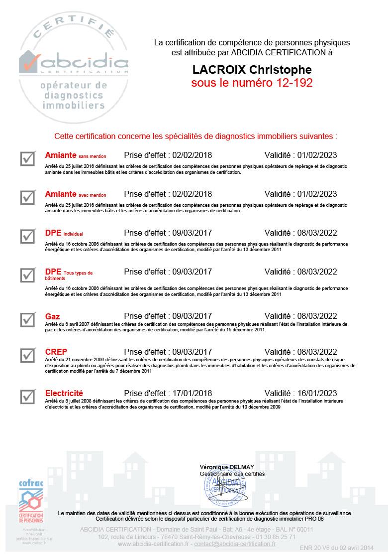 Certification amiante, DPE, gaz, plomb, termites, électricité