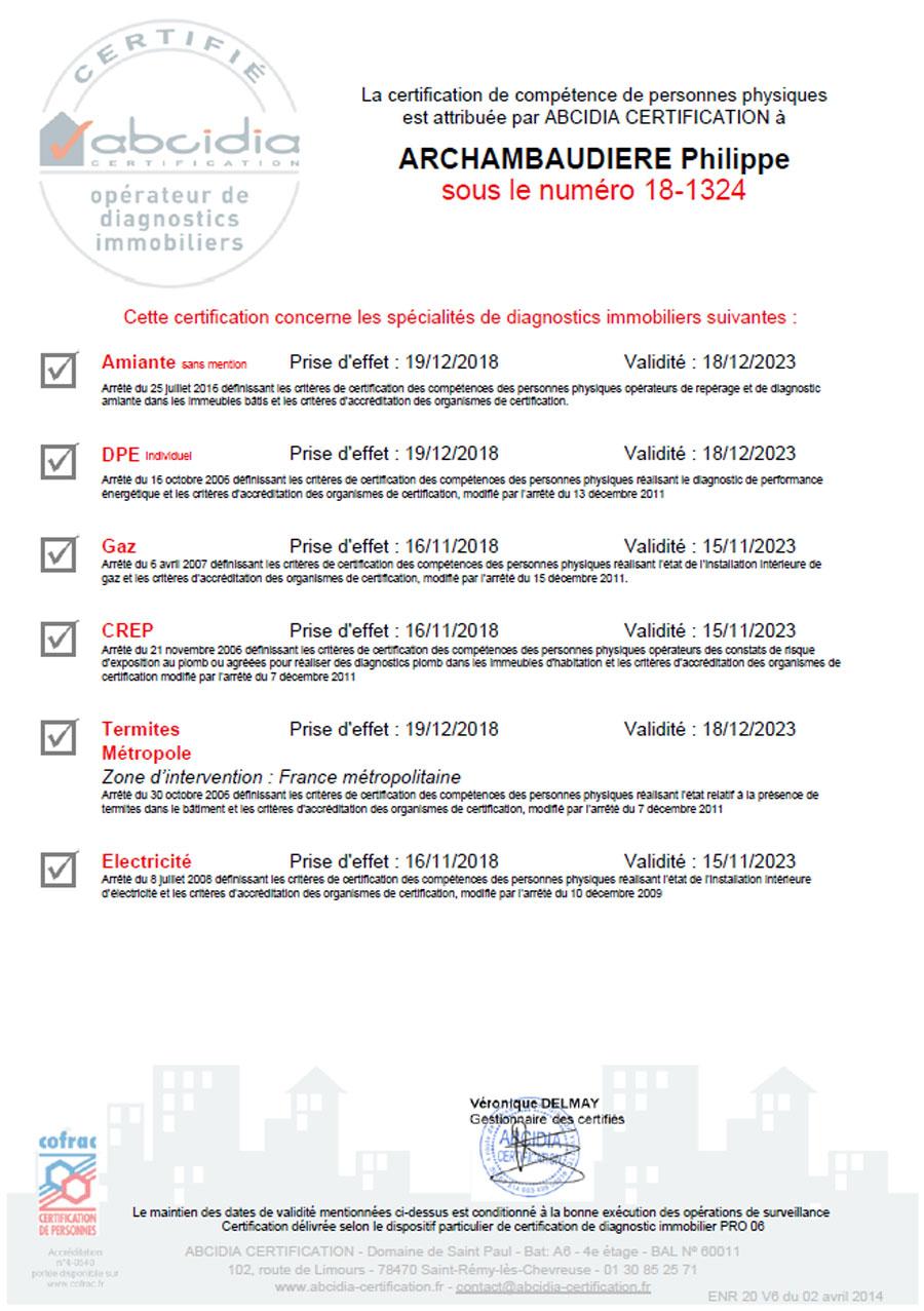 Certification de compétences en diagnostics immobiliers