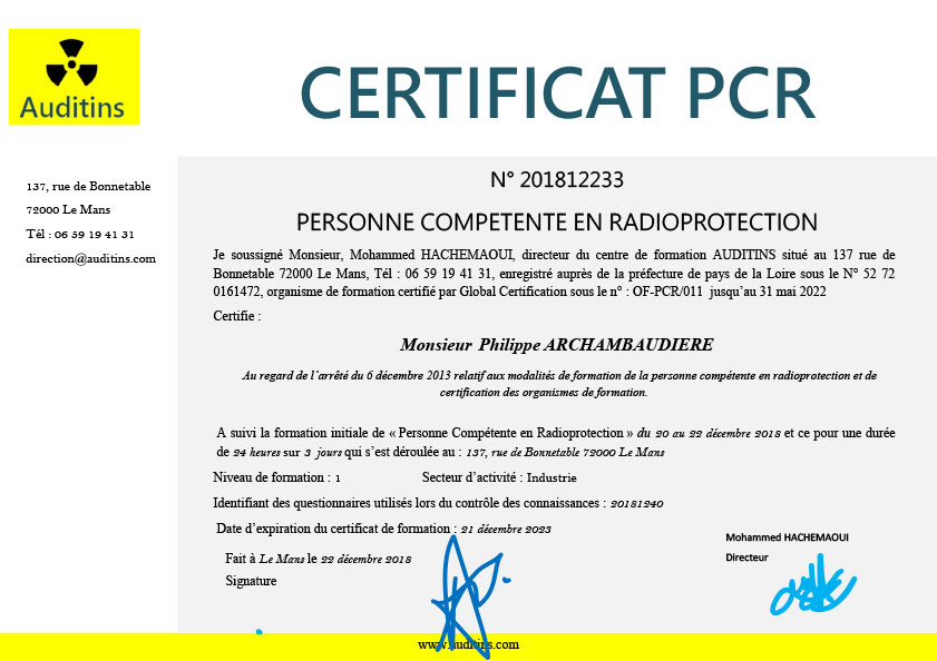 Certificat PCR pour M. P. Archambaudiere