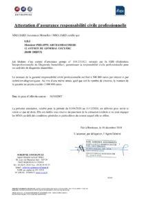 Attestation d'assurance responsabilité civile professionnelle 2020